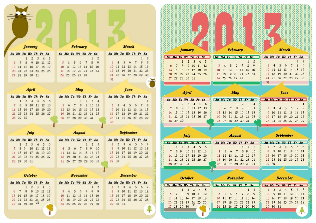 Calendario 12 Mesi.Pdf Gratis Calendari 2013 Babygreen