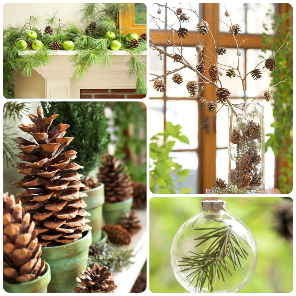 Come decorare con le pigne babygreen for Comodini grezzi da decorare