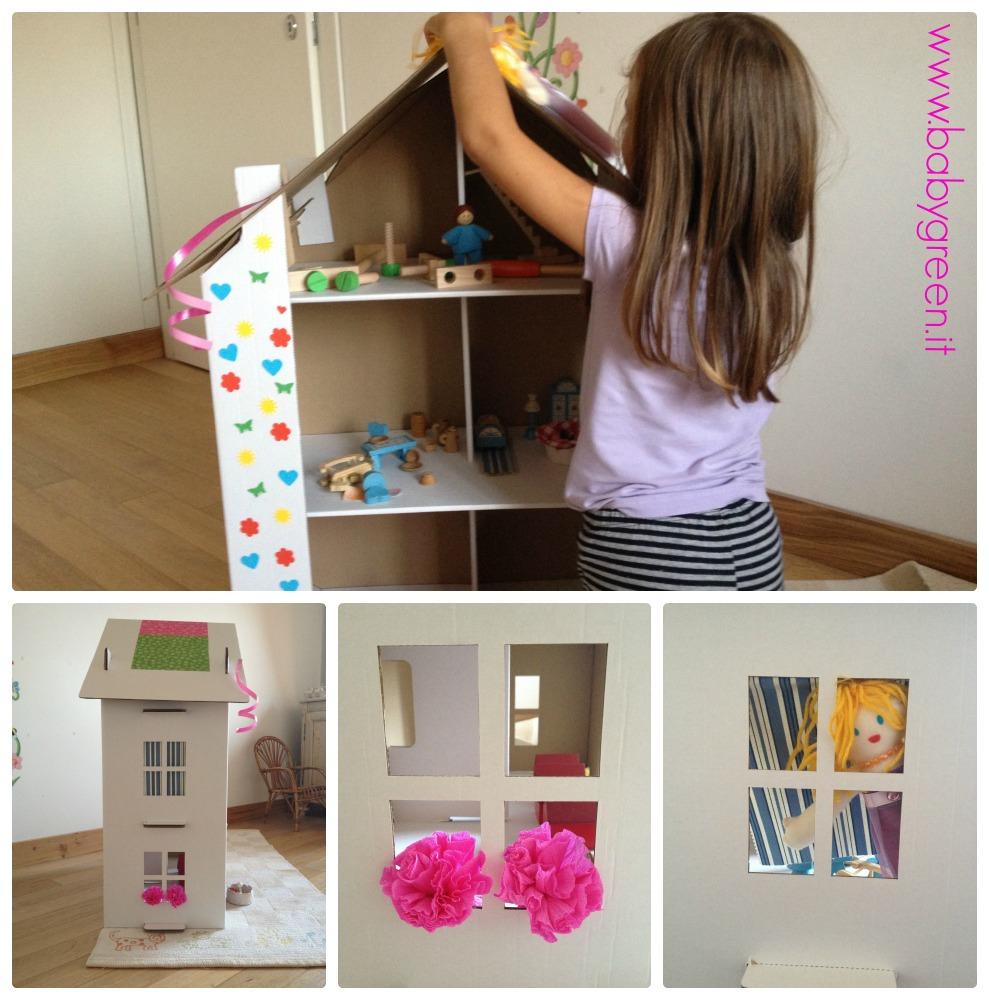 La casa delle bambole di cartone creativa ed ecologica babygreen - Fai da te a casa ...