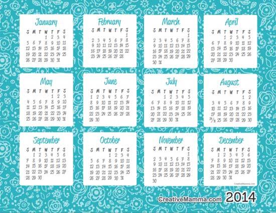 Calendario Anno 2014.Calendari 2014 Da Scaricare E Stampare Gratis Babygreen