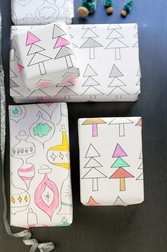 Pacchetti regalo da colorare