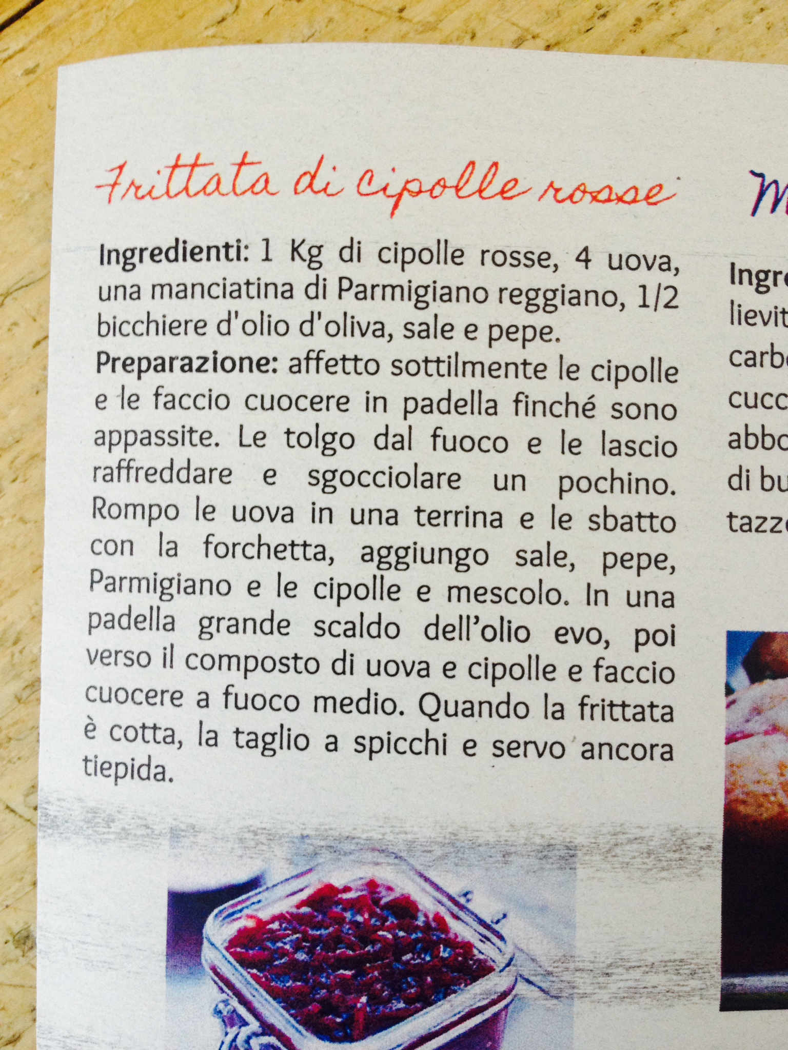 Ricetta della frittata di cipolle rosse, a cura di Portanatura.