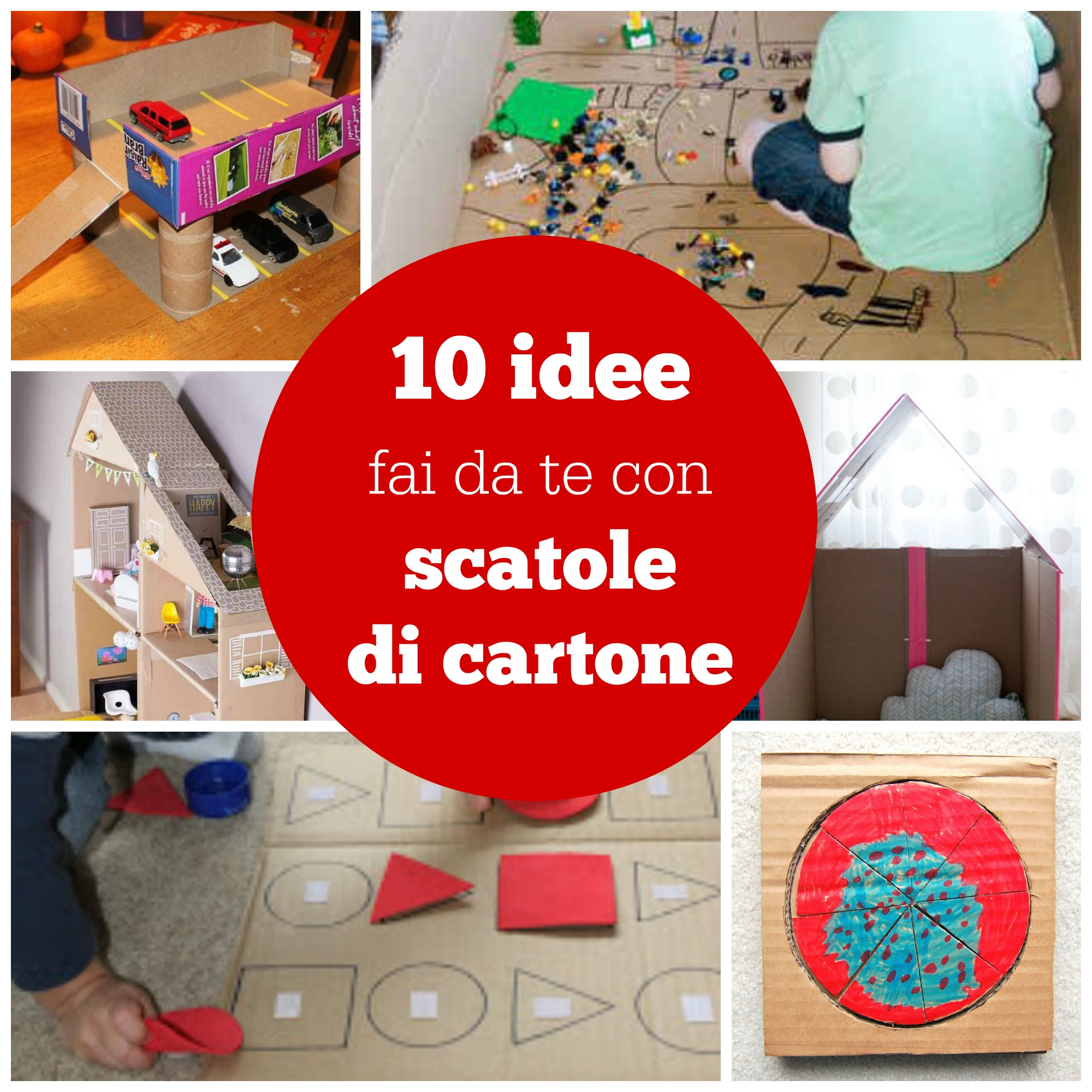 10 idee fai da te con scatole di cartone babygreen for Piccoli piani di casa con garage rv
