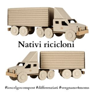 tractor trailer truck made from corrugated board riding in the left and right