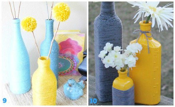 Lavoretti con lana e bottiglie di vetro