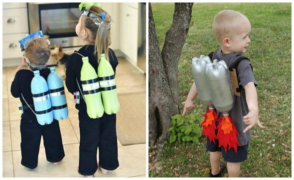 costumi di Carnevale con bottiglie di plastica