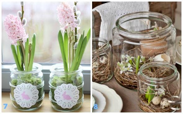 Decorazioni di primavera con i barattoli di vetro - Babygreen