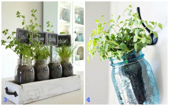 Decorazioni di primavera con i barattoli di vetro