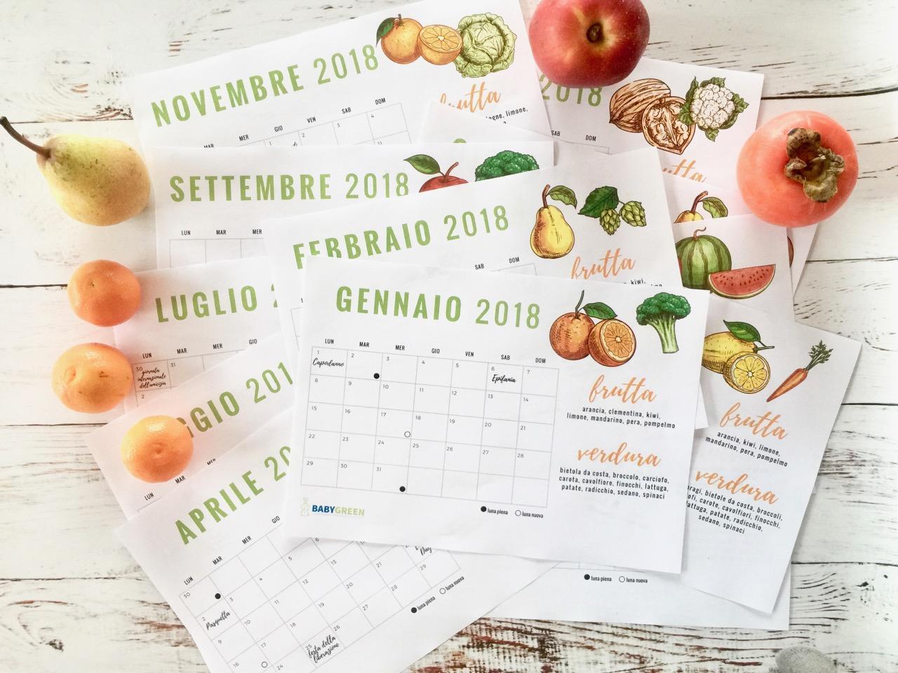 Calendario Da Scaricare.Calendario 2018 Pdf Da Stampare Anche Frutta Verdura