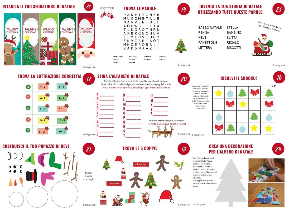 Calendario Avvento Da Stampare 24 Giochi E Attività Per Bambini