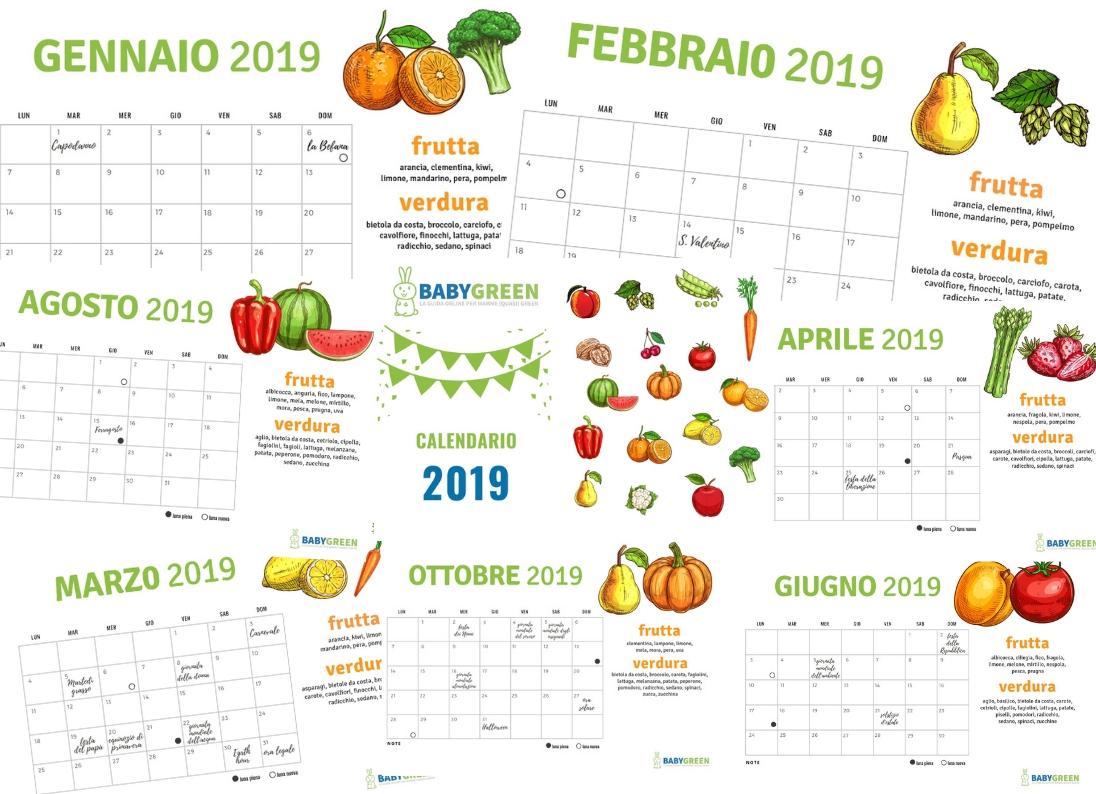 Calendario Agosto 2019 Da Stampare Gratis.Calendario 2019 Pdf Da Stampare Anche Frutta Verdura