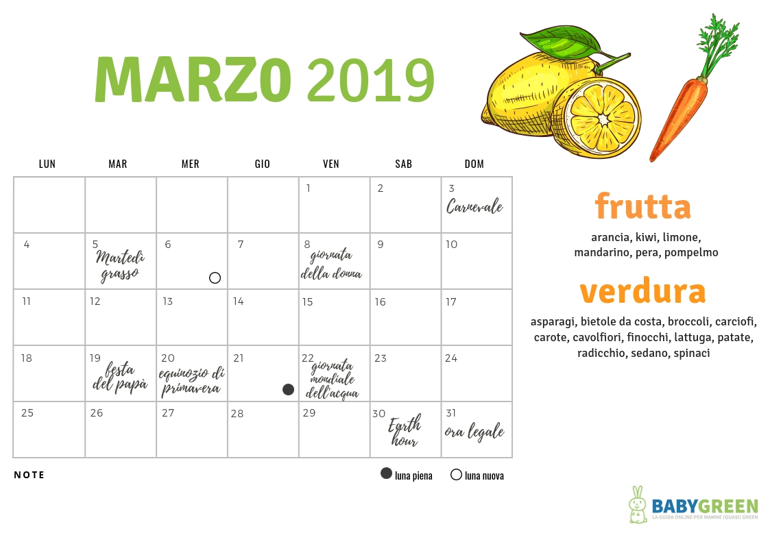 Calendario Di Marzo.Marzo Organizzato Miniguida Babygreen